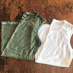 {Indigo} Tank Tops. Olive & White. Size Small.